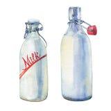 Bouteilles de lait illustration stock