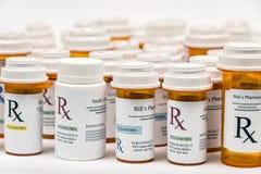 Bouteilles de médecine de prescription de Rx Image stock