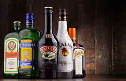 Bouteilles de marques globales assorties de liqueur Image libre de droits