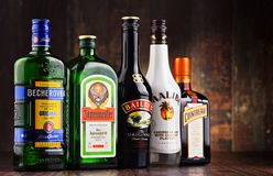 Bouteilles de marques globales assorties de liqueur Photo stock