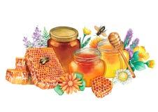 Bouteilles de miel d'aquarelle entourées par des nids d'abeilles, des fleurs de pré et des abeilles photo libre de droits