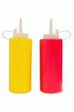 Bouteilles de moutarde et de ketchup Photographie stock