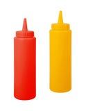 Bouteilles de moutarde et de ketchup Photo stock
