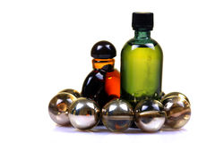Bouteilles de pétrole de massage Photographie stock