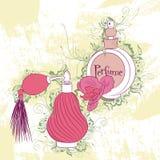 Bouteilles de parfum élégantes décoratives d'illustration Photo stock