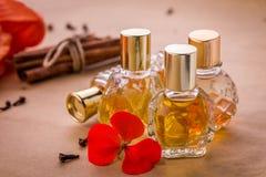 Bouteilles de parfum avec des ingrédients Photos stock