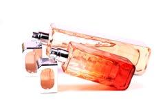 Bouteilles de parfum bleues en verre Photographie stock libre de droits