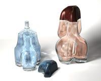 Bouteilles de parfum bleues et brunes illustration libre de droits