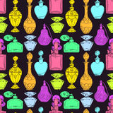 Bouteilles de parfum colorées des femmes sans couture illustration de vecteur