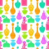 Bouteilles de parfum colorées des femmes sans couture illustration stock