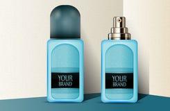 Bouteilles de parfum en plastique bleues Image libre de droits