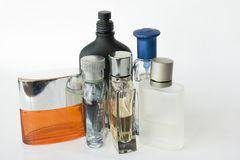 Bouteilles de parfums Photos libres de droits