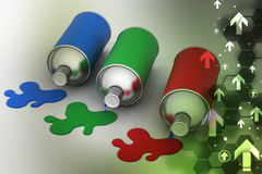 Bouteilles de peinture de couleur de RVB Photo stock