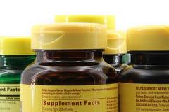 Bouteilles de pilule en plastique Photo stock