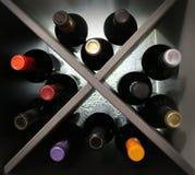 Bouteilles de vin avec le contre-jour Photo stock