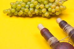 Bouteilles de vin blanc avec des raisins Photographie stock