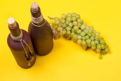 Bouteilles de vin blanc avec des raisins Images libres de droits