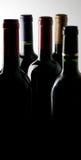 Bouteilles de vin dans l'obscurité Photographie stock libre de droits