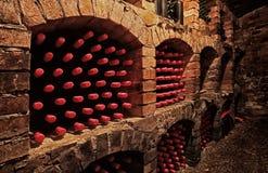 Bouteilles de vin dans la cave images stock