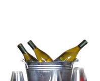 Bouteilles de vin dans la position de bidon images stock