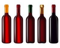 Bouteilles de vin dans la rangée Images libres de droits