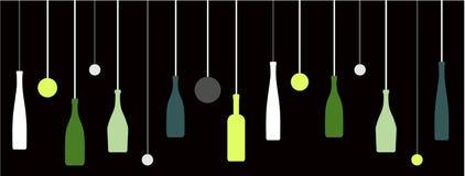 Bouteilles de vin de boisson alcoolisée avec des bulles illustration stock