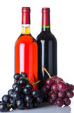 Bouteilles de vin et raisins Photo stock