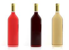bouteilles du rendu 3d de vin sur le fond blanc Photo stock