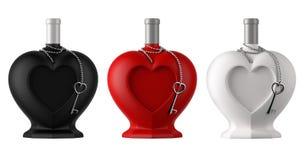 Bouteilles en forme de coeur décoratives avec la chaîne et le coeur de thine en métal Photographie stock libre de droits
