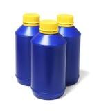 Bouteilles en plastique bleues Image stock