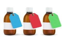 Bouteilles en plastique de Brown avec des étiquettes de papier coloré Bouclier vide de titre illustration stock
