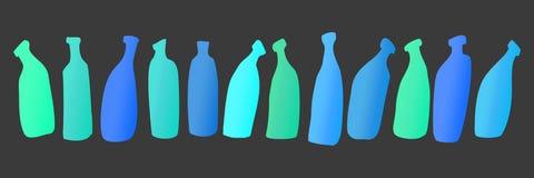 Bouteilles en verre bleues de vecteur Image libre de droits