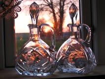 Bouteilles en verre décoratives de carafes Images libres de droits