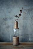 Bouteilles en verre d'ornement de fleur d'en cuivre de stilllife de vase à Gray Rope Images stock