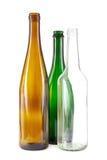 Bouteilles en verre de Brown, vertes et blanches Photographie stock libre de droits
