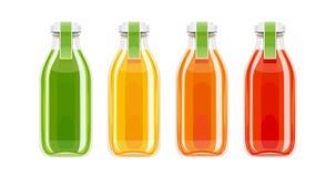 Bouteilles en verre de jus Boisson écologique illustration de vecteur