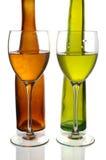 Bouteilles et glaces de vin Images stock