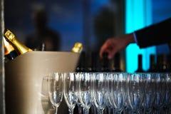 Bouteilles et glaces de vin Photographie stock libre de droits