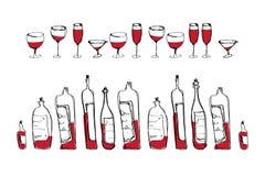 Bouteilles et verres de vin d'isolement de vecteur Photographie stock