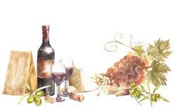 Bouteilles et verres de vin et de feuilles des raisins, d'isolement sur le blanc Parmesan et olives Aquarelle tirée par la main illustration libre de droits