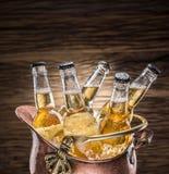 Bouteilles froides de bière dans le seau d'airain photographie stock