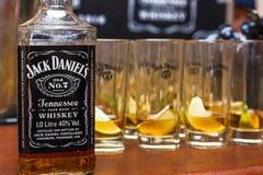 Bouteilles Jack Daniel images libres de droits