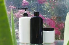 Bouteilles noires et blanches de shampooing, conditionneur pour cheveux sur l'étagère humide en verre Traitements naturels et org images stock