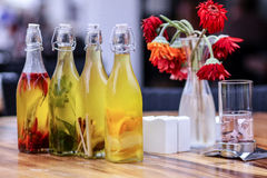 Bouteilles olives Images libres de droits