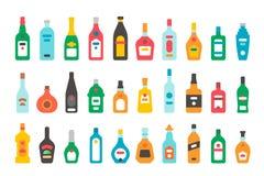 Bouteilles plates d'alcool de conception réglées Images libres de droits