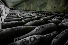 Bouteilles poussiéreuses de vin mousseux Photographie stock libre de droits