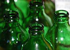 Bouteilles vertes définies Image stock