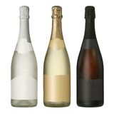 Bouteilles vides de vin mousseux avec des labels Image stock