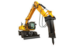 Bouteur de construction et briseur hydraulique d'isolement avec le clipp photographie stock libre de droits