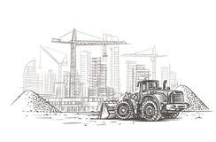 Bouteur sur le croquis de chantier de construction Vecteur posé illustration libre de droits